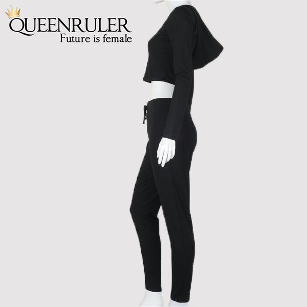 Fitness Jogging Suit (Black) - Queenruler