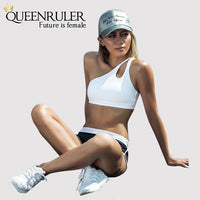 Sexy One Shoulder Sports Bra (White) - Queenruler