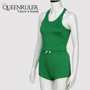 Sleeveless Quick Dry Yoga Set (Green) - Queenruler