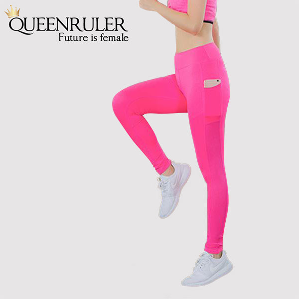 Athletic Leggings With Pocket (Rose Red) - Queenruler