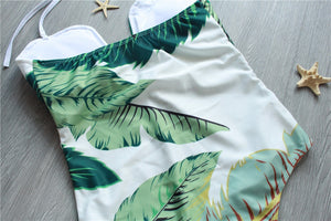 Sexy Leaf Print Swimsuit - Queenruler