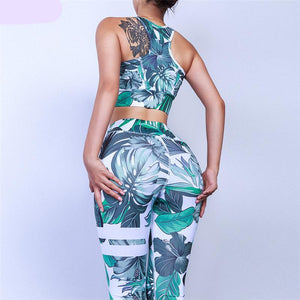 Floral Fitness 2 Piece Set (Green) - Queenruler