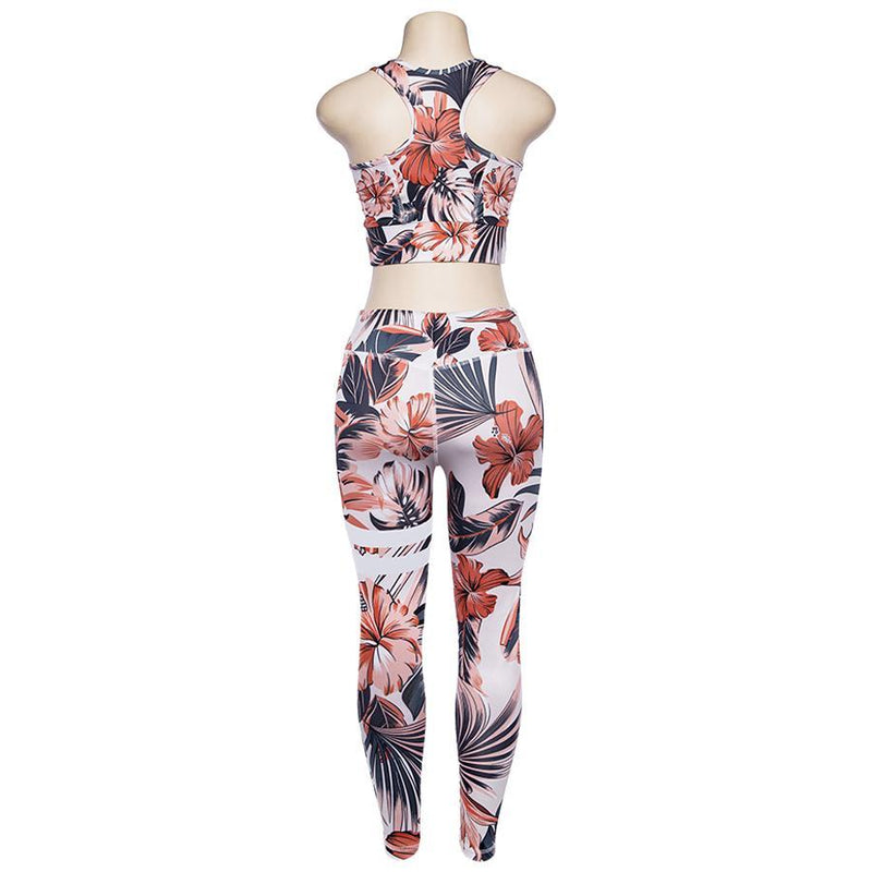 Floral Fitness 2 Piece Set (Orange) - Queenruler