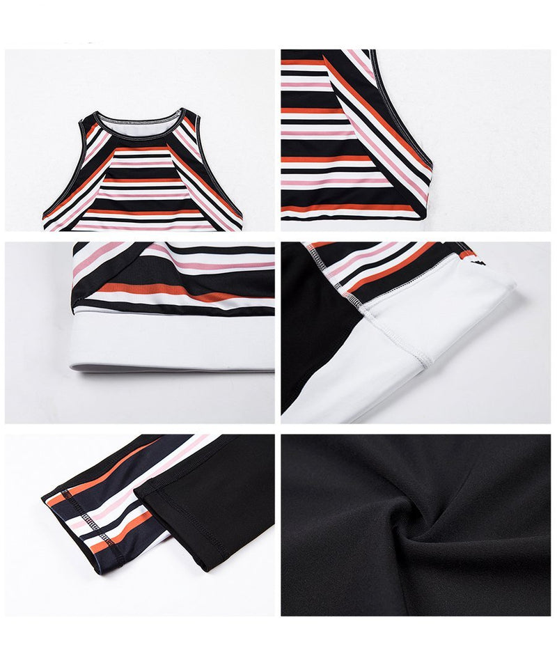 Two Piece Stripe Sports Wear - Queenruler