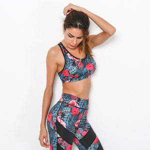 Red Flower Print Yoga Set - Queenruler