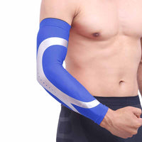 Man wearing Blue Sports Warmer Arm  Sleeves| Queenruler