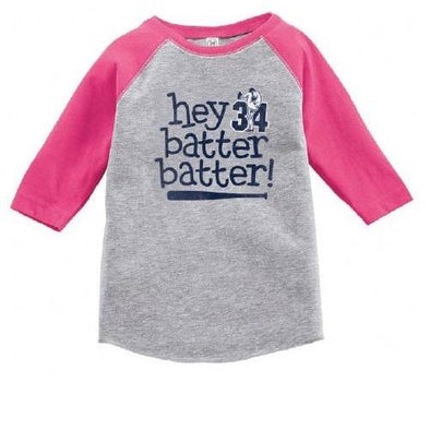 "Round Rock Express Nolan Ryan Foundation Toddler ""HEY BATTER!"" Raglan Tee in Pink"