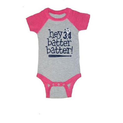 "Round Rock Express NOLAN RYAN FOUNDATION ""HEY BATTER!"" PINK ONESIE"
