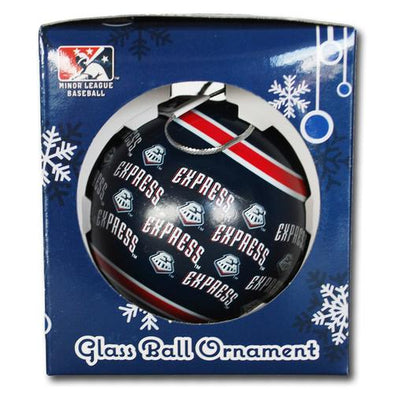 Round Rock Express Navy Round Repeating Ornament