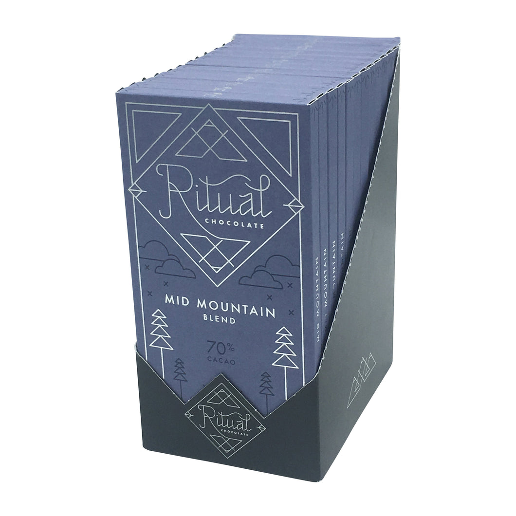 Ritual Chocolate - 1 Case (12 Bars) Ritual Chocolate Mid Mountain Blend 70%, 2.12 OZ x 12