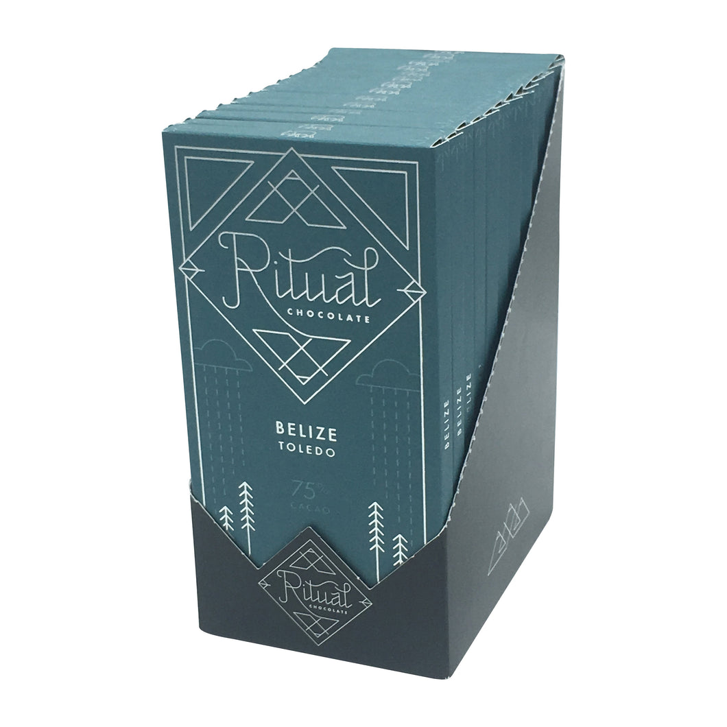 Ritual Chocolate - 1 Case (12 Bars) Ritual Chocolate Dark Single Origin Belize 75%, 2.12 OZ x 12