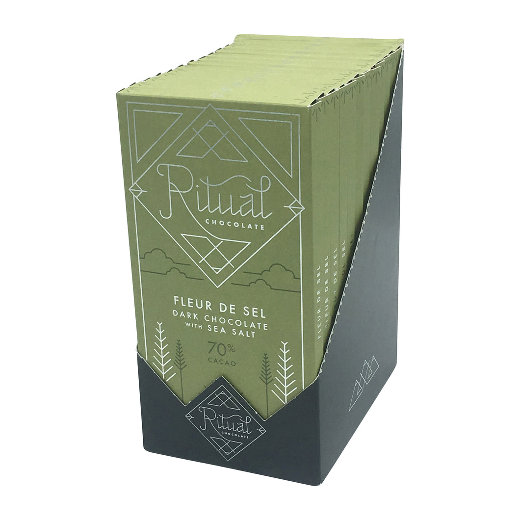 Ritual Chocolate - 1 Case (12 Bars) Ritual Chocolate Fleur De Sel 70%, 2.12 OZ x 12