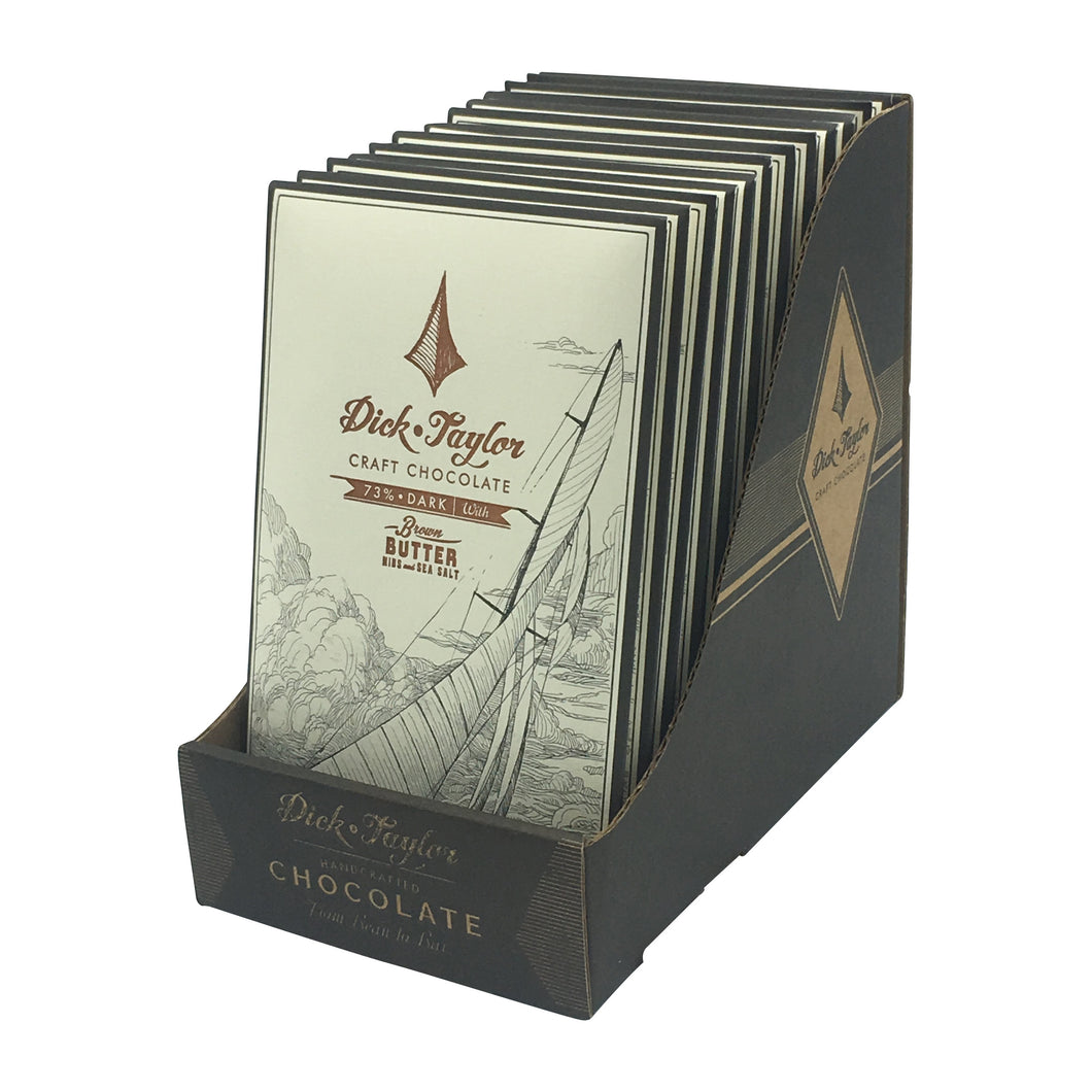Dick Taylor Chocolate - 1 Case (12 Bars) 72% Brown Butter with Nibs and Salt