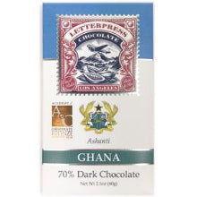 LetterPress Chocolate - 1 Case (12 Bars) Ghana, Ashanti 70% Dark Chocolate