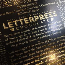 Load image into Gallery viewer, LetterPress Chocolate - 1 Case (12 Bars) Peru, Ucayali, 70% Dark Chocolate