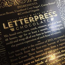 LetterPress Chocolate - 1 Case (12 Bars) Peru, Ucayali, 70% Dark Chocolate