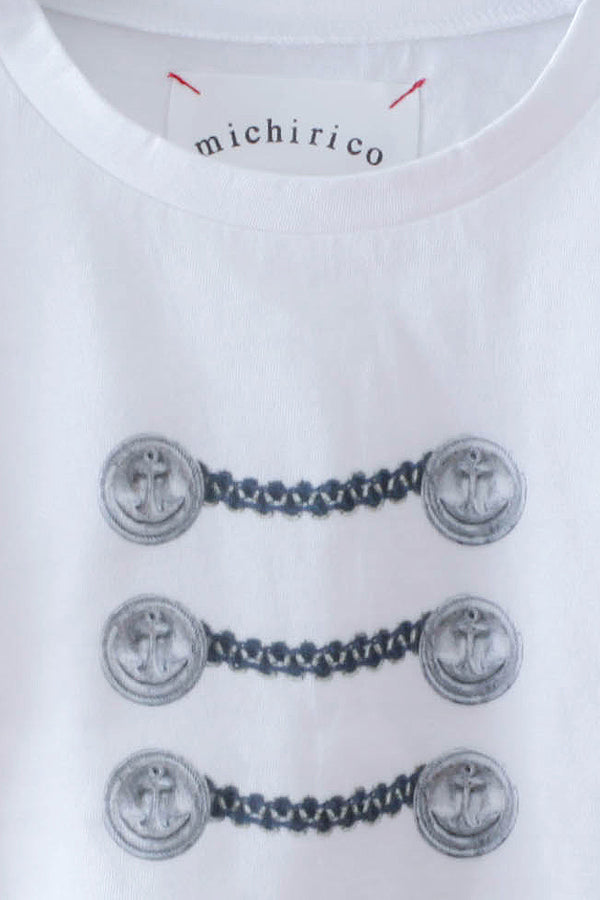 【30%OFF】 michirico Button print T white