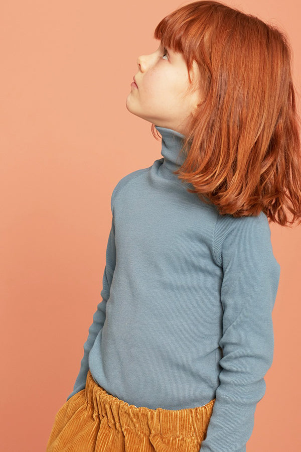 KIDS ON THE MOON COBALT TURTLENECK TOP