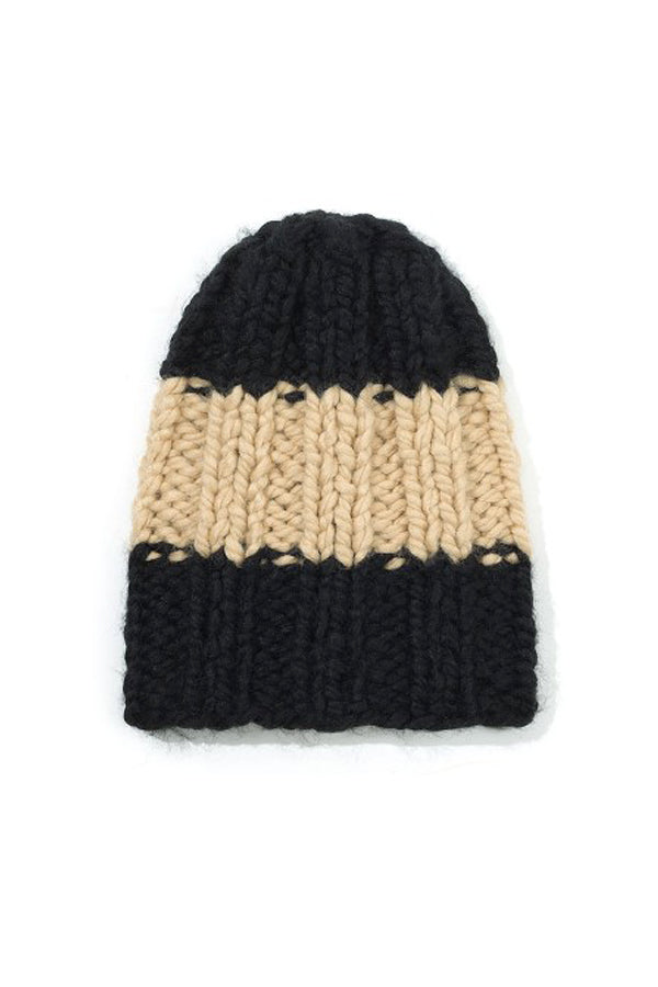 KIDS ON THE MOON BEANIE black/beige