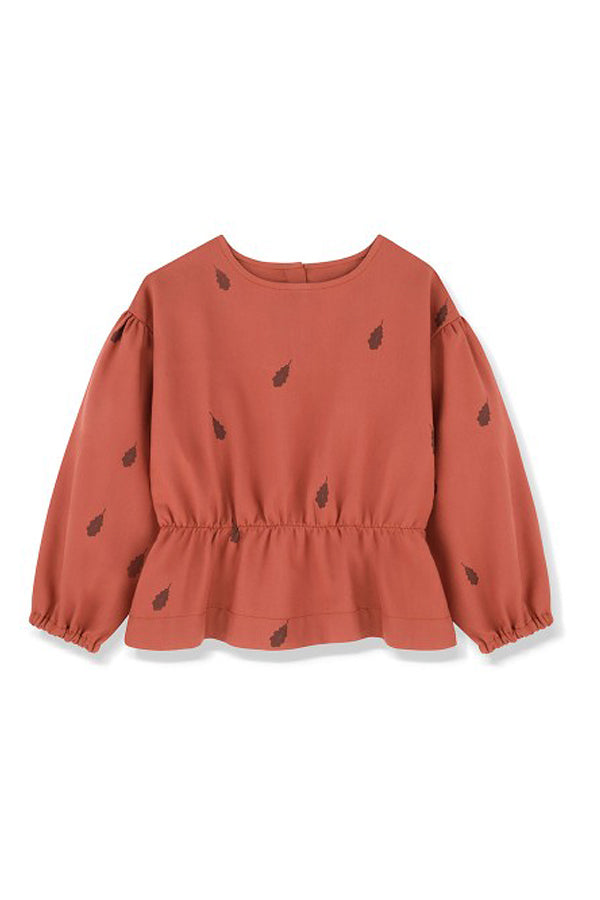 KIDS ON THE MOON RUSTY LEAVES PEPLUM BLOUSE