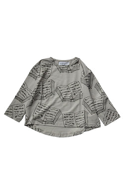 BOOKS LOOSE L/S Tee S.GREY x D.GREY