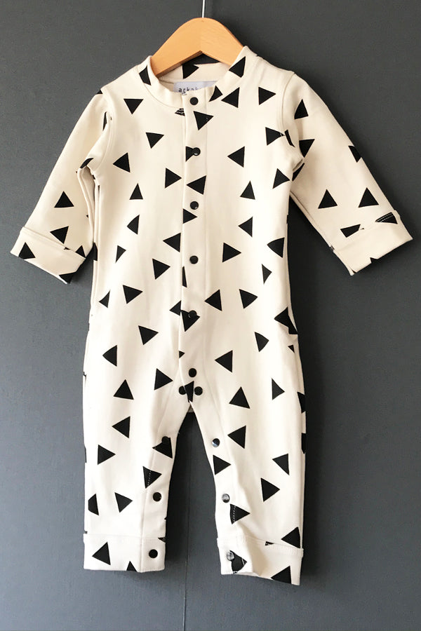 arkakama SPD BABY COVERALL ▲ IVORY x BLACK