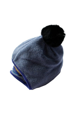 FLEECE POMPOM BONNET BLUE