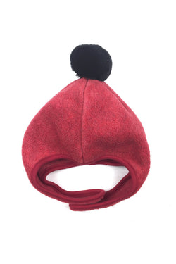 FLEECE POMPOM BONNET RED