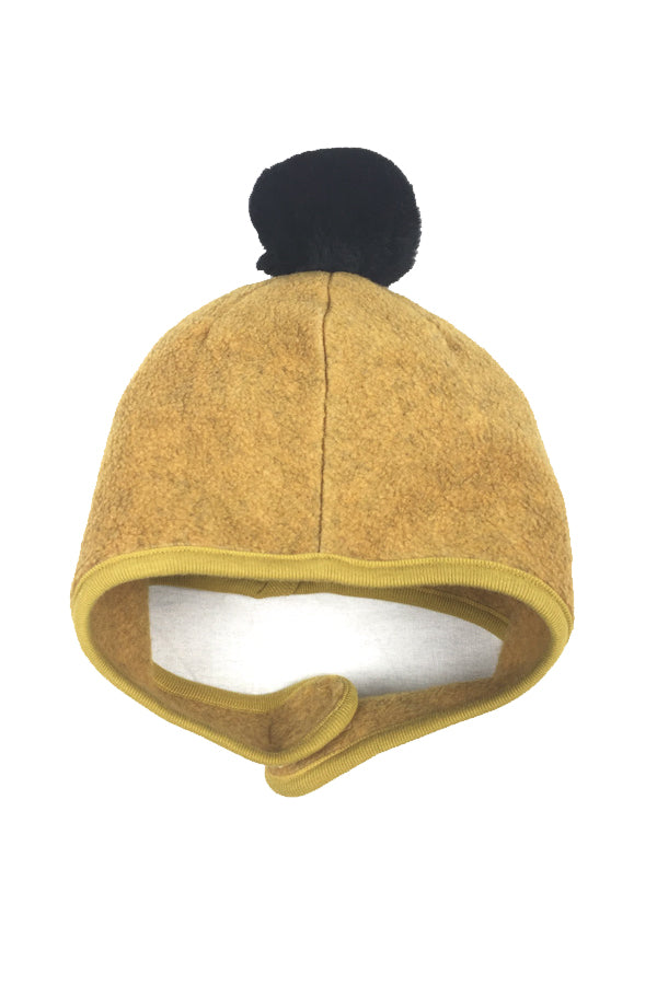 FLEECE POMPOM BONNET YELLOW