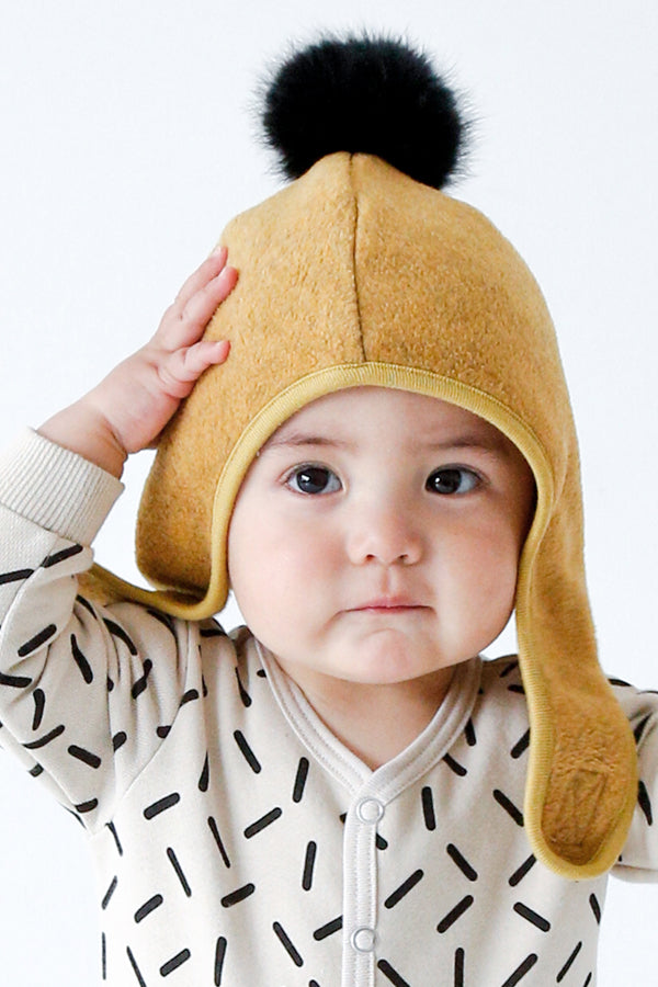 ChocolateSoup FLEECE POMPOM BONNET YELLOW