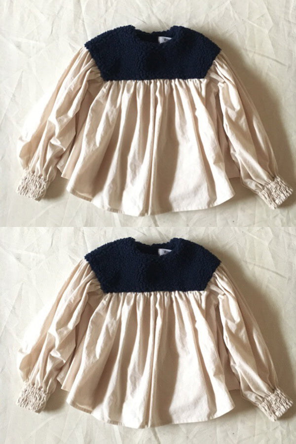 boa gather blouse ネイビーboa×生成