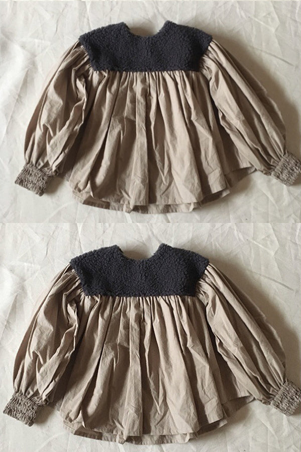 folk made boa gather blouse チャコール boa×ベージュ
