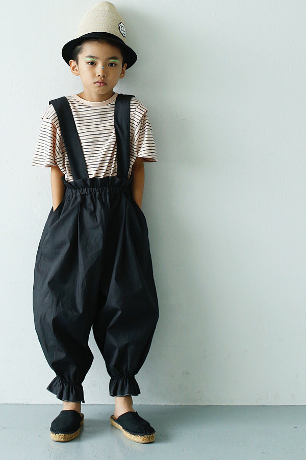 【20%OFF】long pants with suspenders ブラック