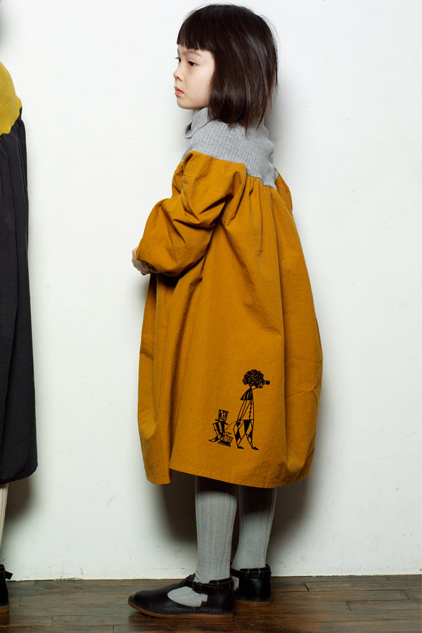 folk made clown dress マスタード x グレー