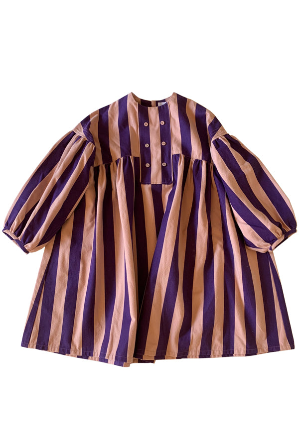 folk made stripe dress pink ×purple