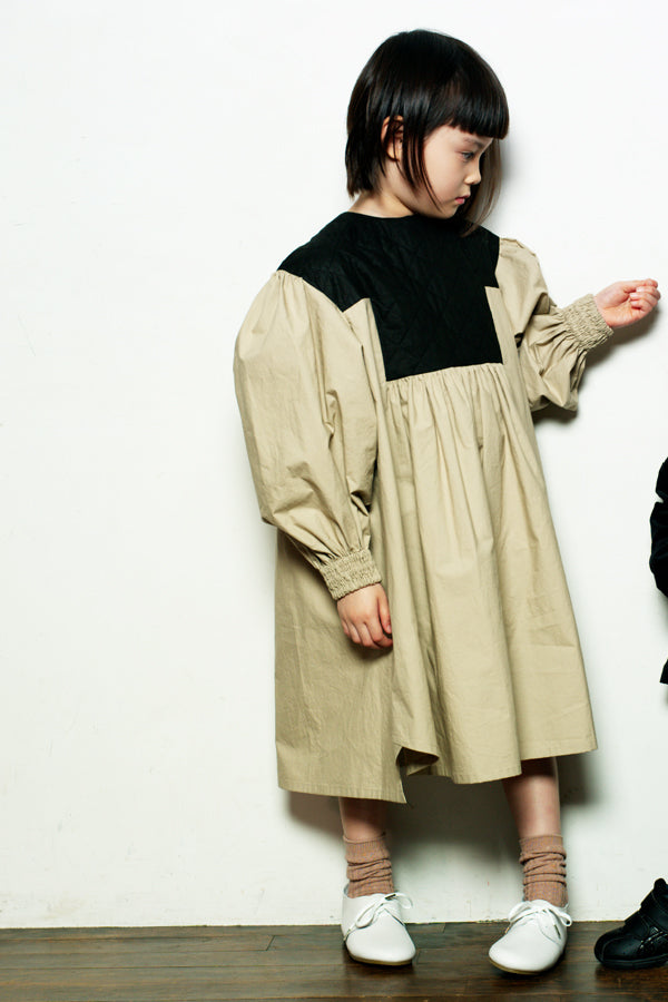 【30%OFF】folk made quilt dress beige×quilt