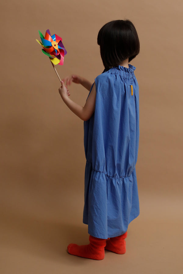 folk made baton dress ブルー