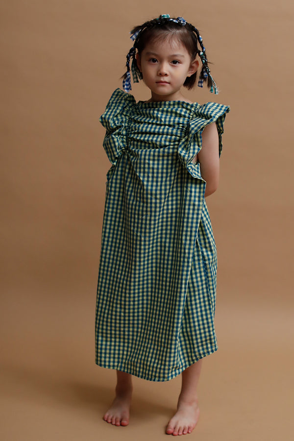 folk made Angel check dress(yellow x blue)