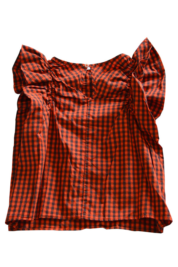 folk made Angel check blouse(red x navy)
