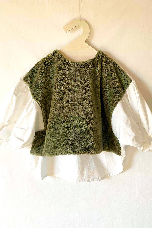 folk made boa pullover khaki