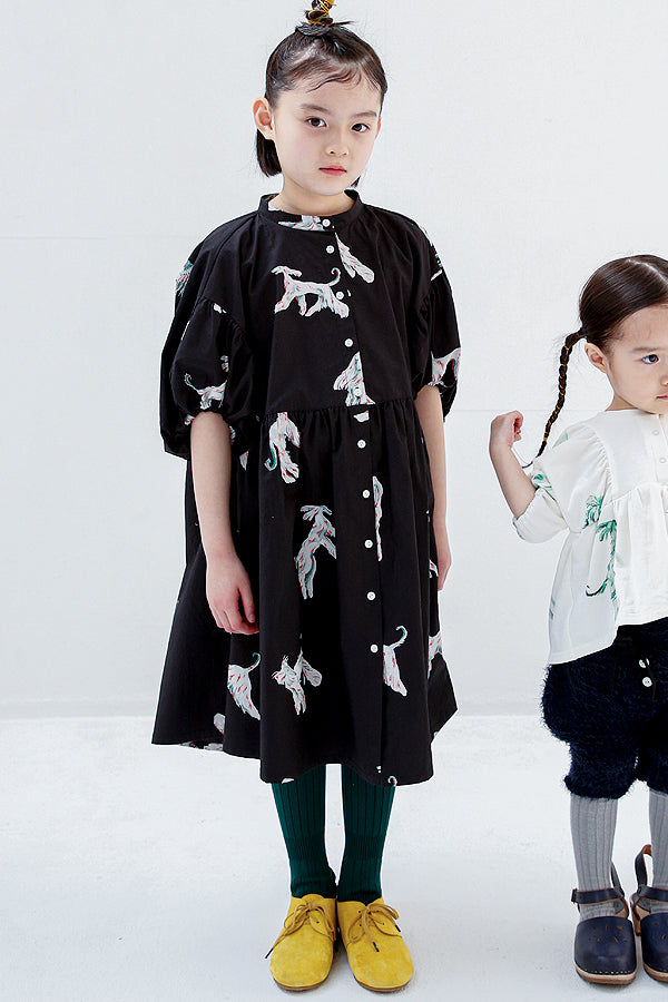 folk made afghan hound dress black print