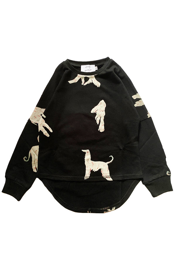 folk made afghan hound long shirt black print