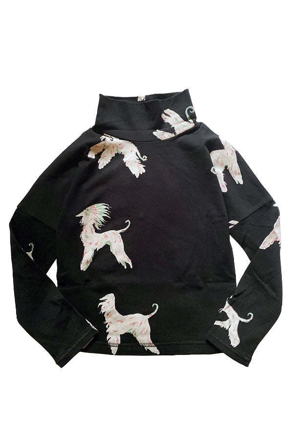 folk made afghan hound high neck black print