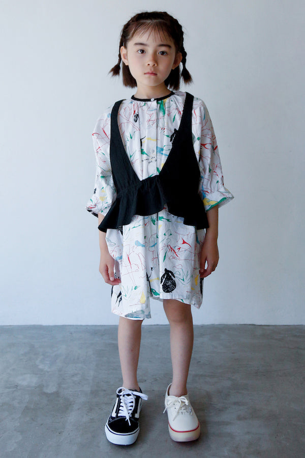 folk made folkloric print over dress white x red