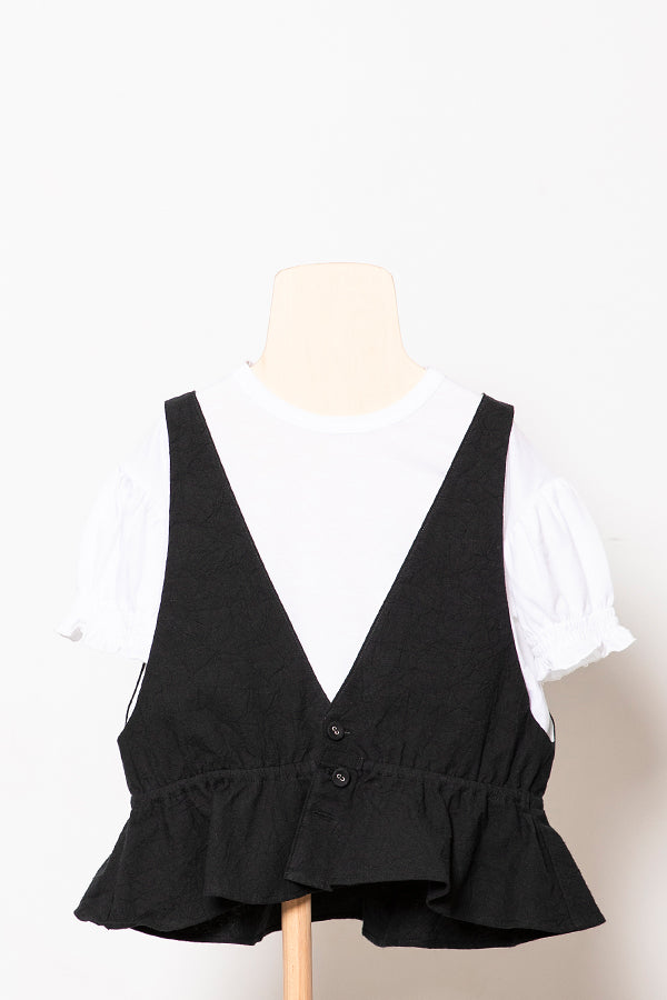 folk made flare vest black