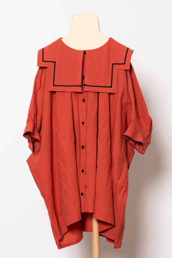 folk made sailor collar shirts brick red