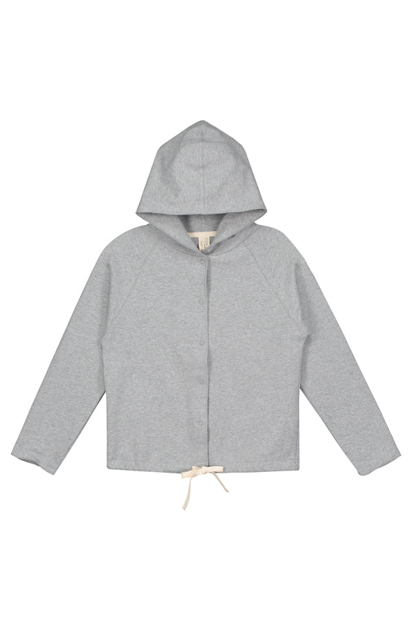 Hooded Cardigan w/Snaps Grey Melange