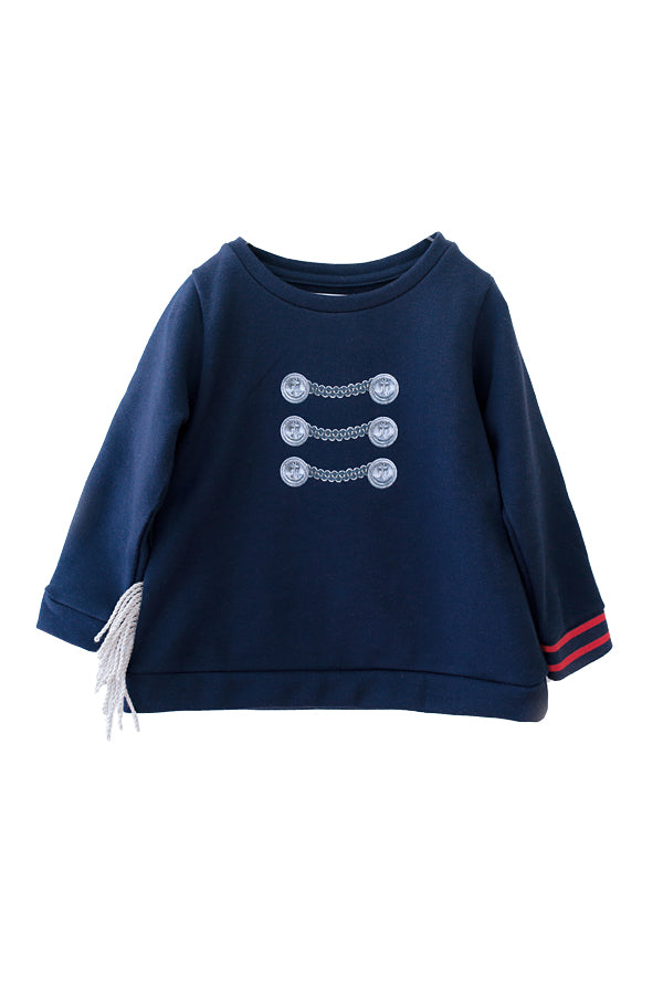 【30%OFF】michirico Button print sweat navy