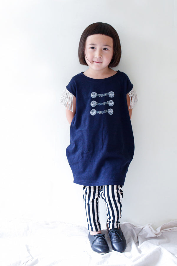 【30%OFF】 michirico Button print Big T navy
