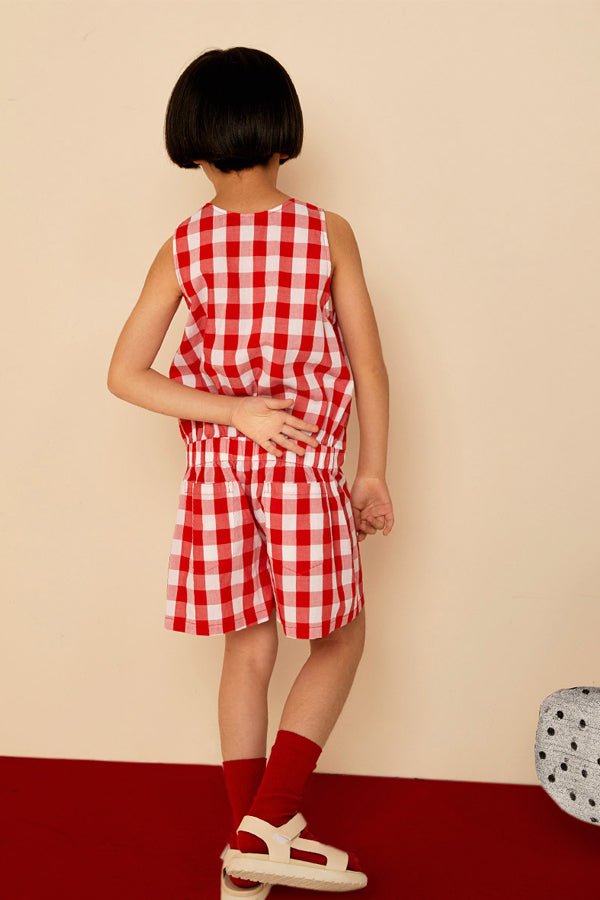 Milk & Biscuits Red gingham jumpsuit